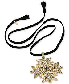 Gold-Tone Faux Suede Convertible Pendant Necklace