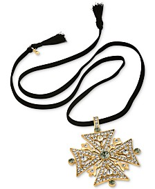 RACHEL Rachel Roy Gold-Tone Faux Suede Convertible Pendant Necklace