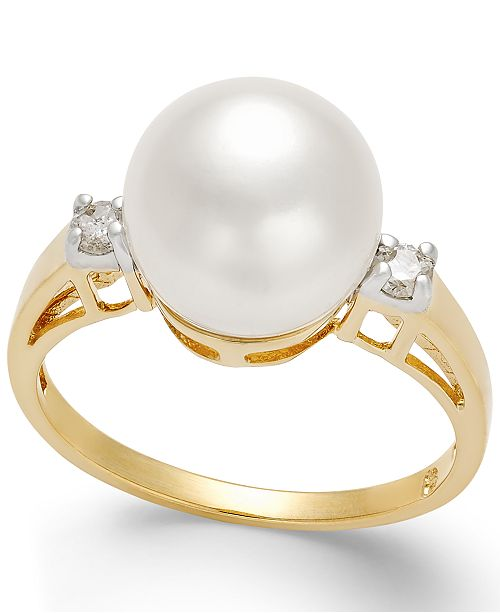 Macy's Cultured Freshwater Pearl (10mm) and Diamond (1/8 ct. t.w.) Ring in 14k Gold