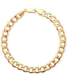 Italian Gold Men's Large Curb Link Bracelet in 10k Gold