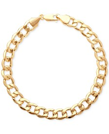 Italian Gold Men's Large Curb Link Bracelet in 10k Gold