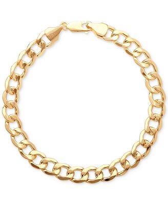 Italian Gold Men S Large Curb Link Bracelet In 10k Gold Bracelets