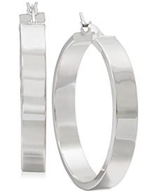 Straight-Edge Thick Hoop Earrings in Sterling Silver