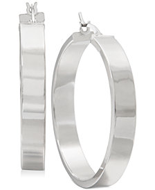 Straight-Edge Thick Hoop Earrings in Sterling Silver