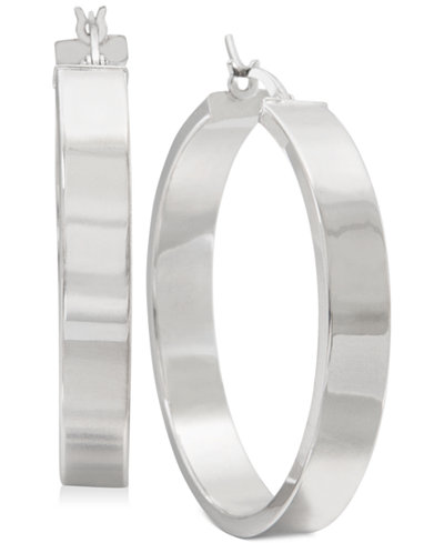 Straight Edge Thick Hoop Earrings In Sterling Silver