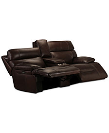 "Barington 81"" Leather Loveseat with 2 Power Recliners, Power Headrests and Console with USB Power Outlet"