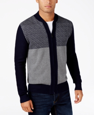 Men's Vintage Style Sweaters – 1920s to 1960s Sean John Mens Big  Tall Jacquard Full-Zip Cardigan $48.37 AT vintagedancer.com