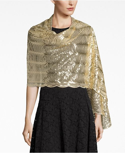 Betsey Johnson BLUE BY BETSEY  JOHNSON Sequined Scallops Evening Wrap