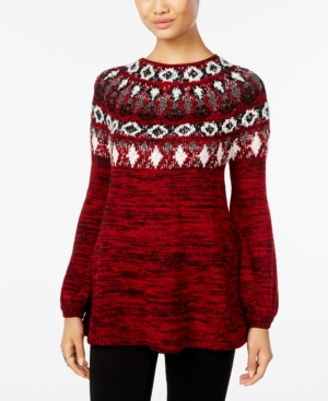 Style & Co Petite Fair Isle Marled Sweater, Only at Macy's