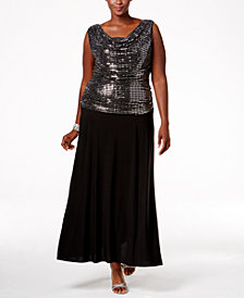 R & M Richards Plus Size Sequined A-Line Gown
