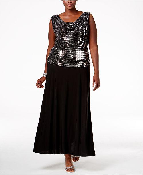 b676a2c2d04 R   M Richards Plus Size Sequined A-Line Gown   Reviews - Dresses ...