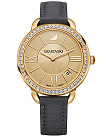 Swarovski Women's Swiss Aila Day Gray Leather Strap Watch 35mm 5221141