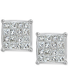 Diamond Quad Stud Earrings (3/4 ct. t.w.) in 10k White Gold