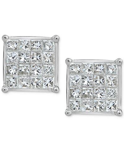 Diamond Quad Stud Earrings (3/4 ct. t.w.) in 10k White Gold