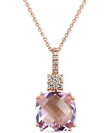Rose Amethyst (6 ct. t.w.) and Diamond (1/5 ct. t.w.) Pendant Necklace in 14k Rose Gold