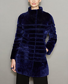 The Fur Vault Striped Lamb Fur Coat