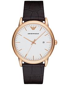 Emporio Armani Men's Luigi Dark Brown Leather Strap Watch 43mm AR2502