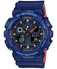 G-Shock Men's Analog-Digital Blue Resin Strap Watch 51x55mm GA100L-2A