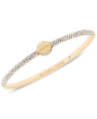 Michael Kors Pav¨¦ Logo Disc Hinged Bangle Bracelet, First at Macy\u0026#39;s