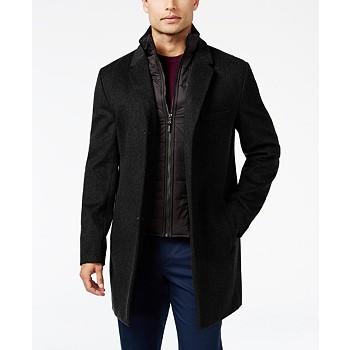 Michael Kors Men's Water-Resistant Overcoat with Zip-Out Liner