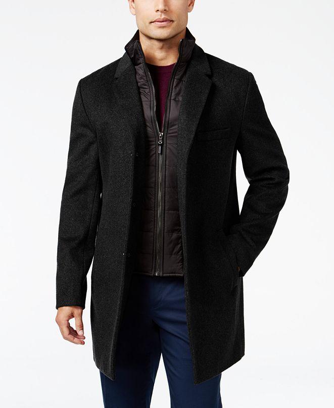 Michael Kors Michael Kors Men's Water-Resistant Slim-Fit Overcoat with Zip-Out Liner