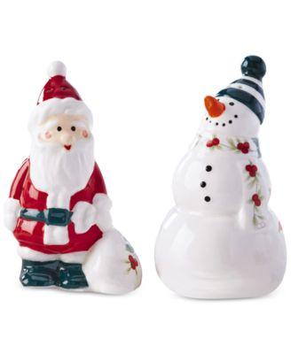 Winterberry Snowman & Santa, Salt & Pepper Set, Created for Macy's