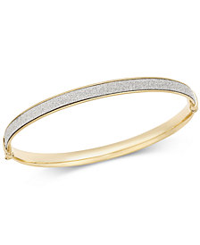 Italian Gold Glitter Bangle Bracelet in 14k Gold