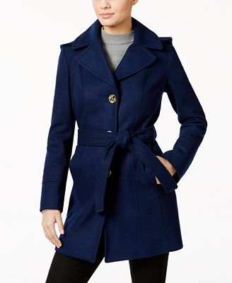 MICHAEL Michael Kors Petite Wool-Blend Hooded Walker Coat - Coats ...