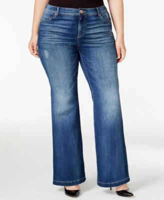 INC International Concepts Plus Size Indigo Wash Flare-Leg Jeans, Only at Macy's