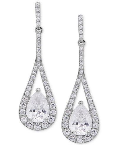 Arabella Swarovski Zirconia Teardrop and Pavé Drop Earrings in Sterling Silver