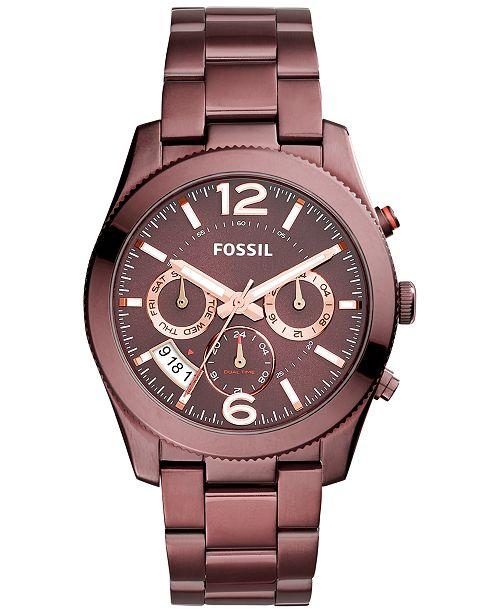 Fossil Women's Perfect Boyfriend Red-Tone Stainless Steel Bracelet Watch 39mm ES4110