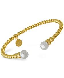 Gold-Tone Imitation Pearl Cuff Bracelet