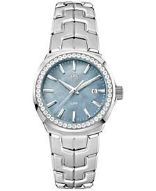 Women's Swiss LINK Diamond (5/8 ct. t.w.) Stainless Steel Bracelet Watch 32mm