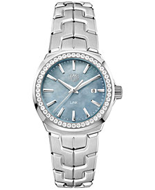 TAG Heuer Women's Swiss LINK Diamond (5/8 ct. t.w.) Stainless Steel Bracelet Watch 32mm
