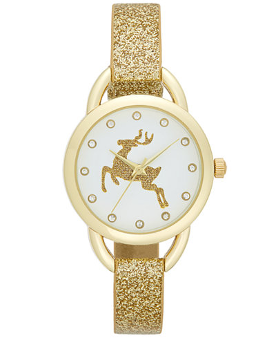 Women's Gold-Tone Glitter Strap Watch 30mm, Only at Macy's