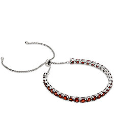 Rhodium Garnet Slider Bracelet (7 ct. t.w.) in Sterling Silver