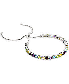 Multi-Gemstone Slider Bracelet (5-7/8 ct. t.w.) in Sterling Silver