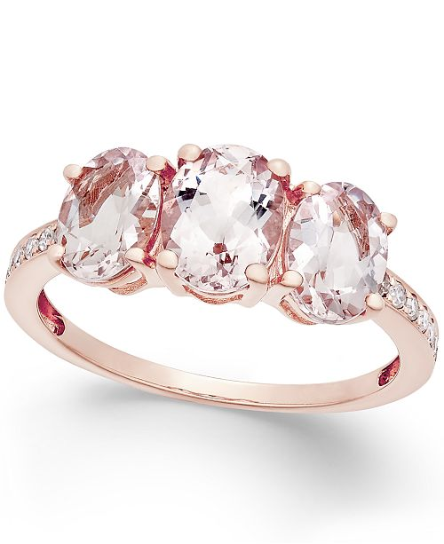 Macy's Morganite (2 ct. t.w.) and Diamond (1/10 ct. t.w.) Ring in 14k Rose Gold