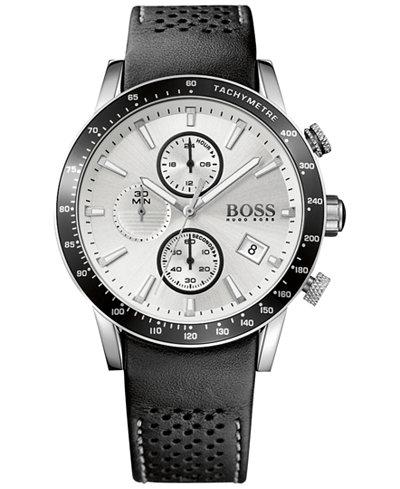 BOSS Hugo Boss Men's Chronograph Rafale Black Leather Strap Watch 44mm 1513403