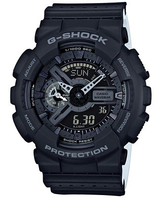 G-Shock Men's Analog-Digital Black/White Dual Layer Resin Strap Watch 51x55mm GA110LP-1A