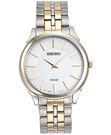 Seiko Men's Solar Slimline Two-Tone Stainless Steel Bracelet Watch 39mm SUP864