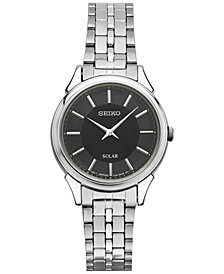 Seiko Women's Solar Slimline Stainless Steel Bracelet Watch 27mm SUP343