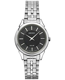 Seiko Women's Solar Slimline Stainless Steel Bracelet Watch 27mm SUP343