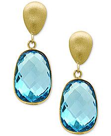 EFFY® Ocean Bleu Blue Topaz Drop Earrings (9-3/4 ct. t.w.) in 14k Gold