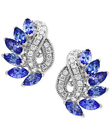 EFFY® Tanzanite Royalé Tanzanite (1-3/4 ct. t.w.) and Diamond (1/5 ct. t.w.) Drop Earrings in 14k White Gold, Created for Macy's