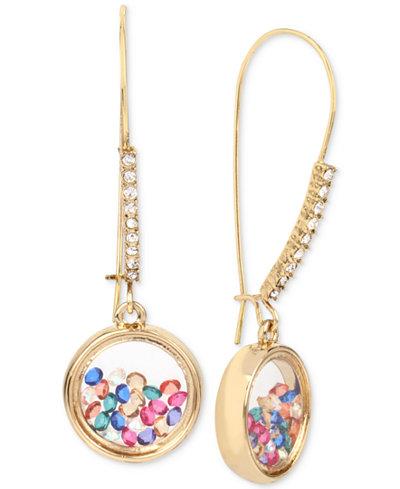 Betsey Johnson Gold-Tone Shaky Crystal Drop Earrings