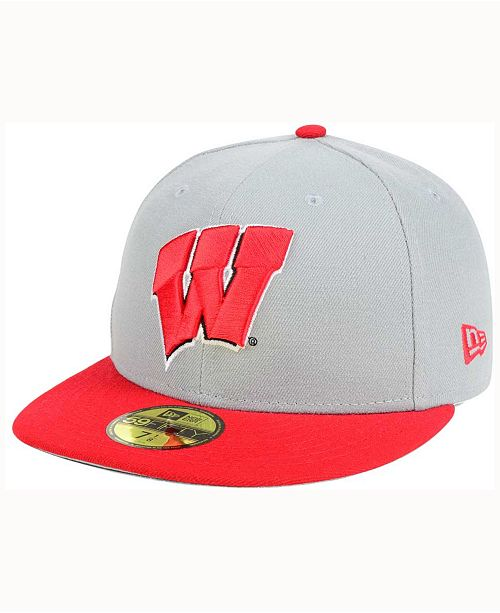 New Era Wisconsin Badgers Grayson 59FIFTY Fitted Cap - Sports Fan ... 631b6ff7bc9