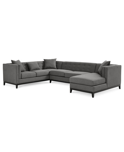Braylei 3 pc tufted sectional w chaise 3 toss pillows for 3pc sectional with chaise