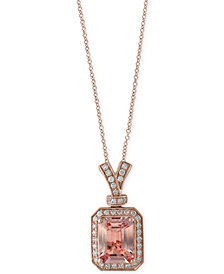 EFFY® Morganite (2-1/5 ct. t.w.) and Diamond (1/5 ct. t.w.) Pendant Necklace in 14k Rose Gold