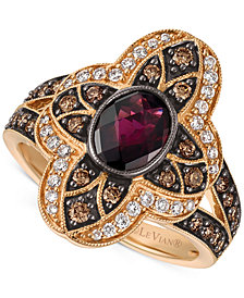 Le Vian® Chocolatier Rhodolite Garnet (1 ct. t.w.) and Diamond (5/8 ct. t.w.) Statement Ring in 14k Rose Gold